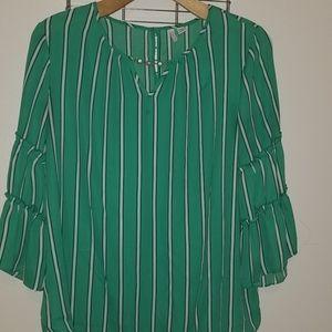 Green Blouse, White and Black pin stripes